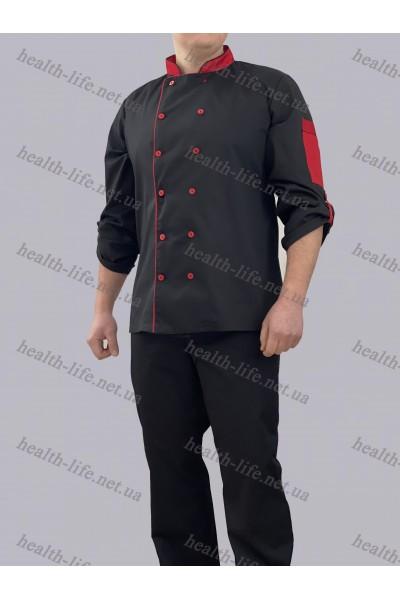 Поварской костюм-модель-3267 (ткань-коттон/черный/размер 42-56)