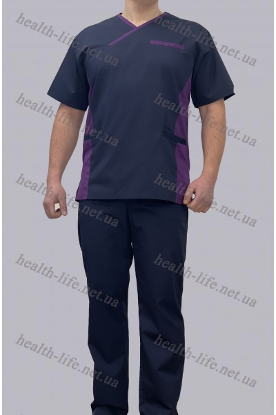 Медицинский костюм-модель-3256 (ткань-коттон/синий/размер 42-60)