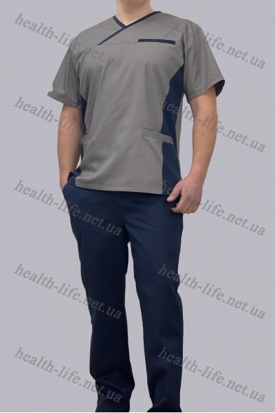 Медицинский костюм-модель-3257 (ткань-коттон/серый/синий/размер 42-60)