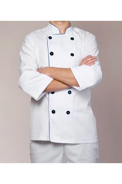 Поварской костюм-модель-3213-(2)  (ткань-коттон/белый/черный/размер 42-56)