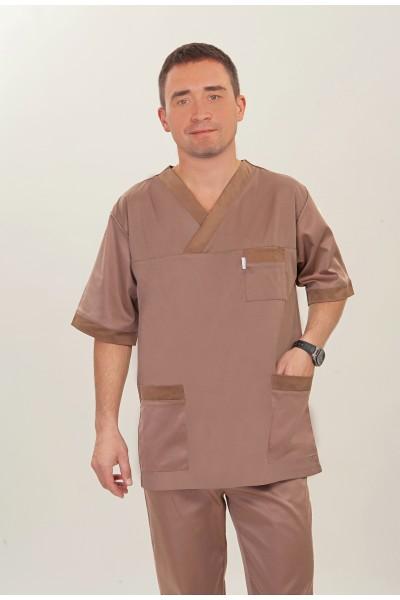 Медицинский костюм-модель-3237 (ткань-коттон/светло-коричневый/размер 44-60)