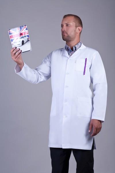 Медицинский халат-модель-2148 (ткань-х/б/белый/размер 42-60)