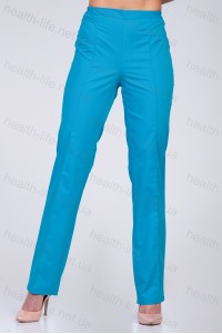 Медицинские штаны-модель-2601 (ткань-х/б/бирюза/размер 42-66)