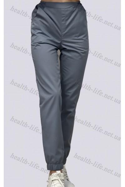 Медицинские брюки-модель джоггеры-3609 (ткань-коттон/серый/размер 42-56)