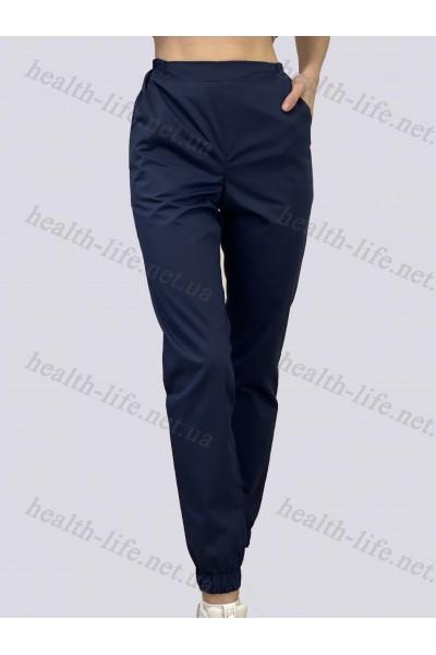Медицинские штаны-модель джоггеры -3608 (ткань-коттон/темно-синий/размер 42-56)