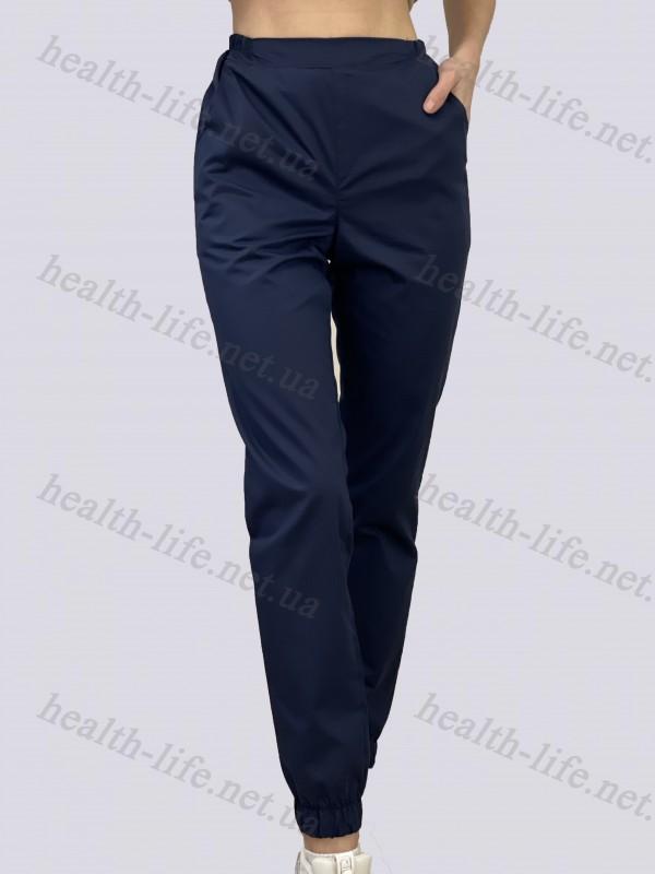 Медицинские брюки-модель джоггеры-3608 (ткань-коттон/темно-синий/размер 42-56)