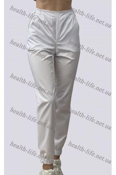 Медицинские брюки джоггеры-модель-3607 (ткань-коттон/белый/размер 42-56)