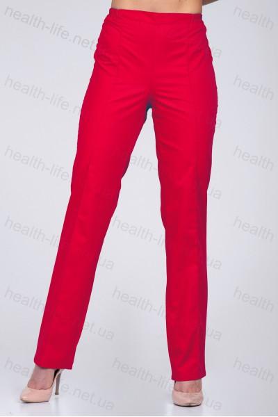 Медицинские штаны-модель-2605 (ткань-х/б/красный/размер 42-60)