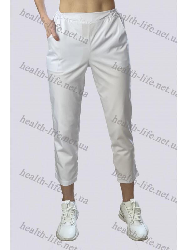 Медицинские брюки- укороченные-модель 3611 (ткань-коттон/белый/размер 42-56)