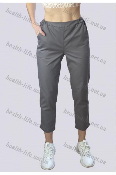 Медицинские брюки- укороченные-модель 3610 (ткань-коттон/серый/размер 42-56)